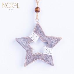 灰色系木質麻聖誕吊飾-星星造型