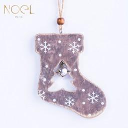 灰色系木質鈴鐺聖誕吊飾-聖誕襪