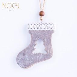 木質聖誕吊飾-襪子造型