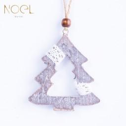 灰色系木質麻聖誕吊飾-聖誕樹